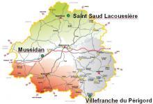 Image représentant la carte des sites de récolte des cèpes du Périgord